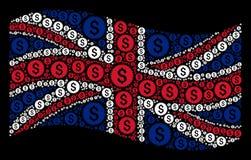 Развевая мозаика флага Великобритании финансовых деталей уплотнения иллюстрация штока