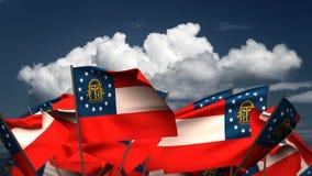 Развевая национальные флаги Georgia иллюстрация вектора