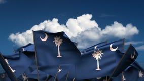 Развевая национальные флаги Южной Каролины иллюстрация вектора