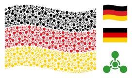 Развевая немецкий коллаж флага значков химической войны агента нервно-паралитического действия WMD иллюстрация штока