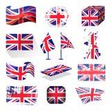 Развевая символ Англии флага Великобритании великобританский патриотический национальный стиля Великобритании различного vector и Стоковая Фотография RF