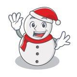 Развевая стиль шаржа характера снеговика Стоковое Изображение RF