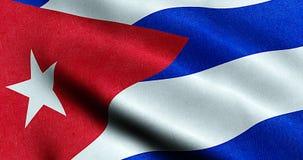 Развевая текстура ткани флага Кубы, голубого реального цвета текстуры красного и белизны кубинского флага Стоковое Фото
