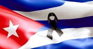Развевая текстура ткани флага Кубы, голубого реального цвета текстуры красного и белизны кубинского флага Стоковое Изображение