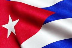 Развевая текстура ткани флага Кубы, голубого реального цвета текстуры красного и белизны кубинского флага, коммунистической дикта Стоковые Фотографии RF