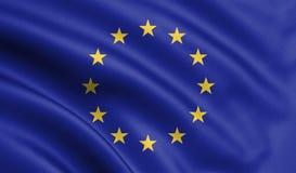 Развевая флаг Европейского союза, флаг ЕС в иллюстрации 3D иллюстрация штока