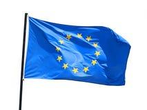 Развевая флаг Европейского союза изолированный на белой предпосылке стоковое фото