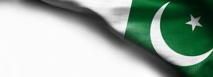 Развевая флаг Пакистана на белой предпосылке Стоковая Фотография