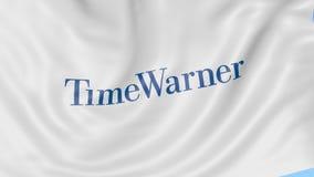 Развевая флаг с логотипом Тайма Уорнера Анимация передовицы петли 4K Seamles бесплатная иллюстрация