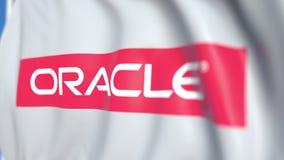 Развевая флаг с логотипом Oracle Корпорации, концом-вверх Редакционная loopable 3D анимация акции видеоматериалы