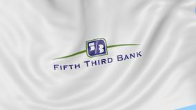 Развевая флаг с пятым третьим логотипом банка Анимация передовицы петли 4K Seamles иллюстрация штока
