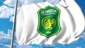 Развевая флаг с Jeonbuk Hyundai едет на автомобиле логотип клуба футбола FC зажим передовицы 4K акции видеоматериалы
