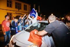 Развевая флаг Франция Франции для окончательного ФИФА Стоковое Фото