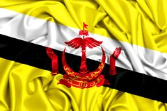 развевая флаг 3d Брунея в ветре Стоковая Фотография