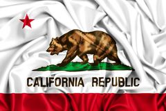 развевая флаг 3d Калифорнии Стоковые Изображения RF