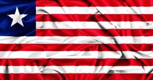 развевая флаг 3d Либерии Стоковая Фотография
