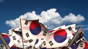 Развевая флаги жителя Южной Кореи иллюстрация вектора