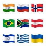 Развевая флаги различных стран Стоковые Фотографии RF