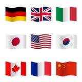 Развевая флаги различных стран Стоковые Фото