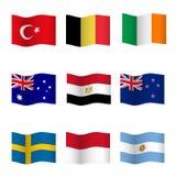 Развевая флаги различных стран Стоковая Фотография RF
