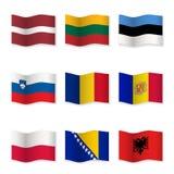 Развевая флаги различных стран 8 Стоковое Изображение