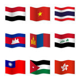 Развевая флаги различных стран 4 Стоковые Изображения