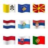 Развевая флаги различных стран 7 Стоковое Изображение RF