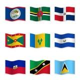 Развевая флаги различных стран 10 Стоковое Изображение