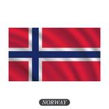Развевая флаг Норвегии на белой предпосылке также вектор иллюстрации притяжки corel Стоковое фото RF