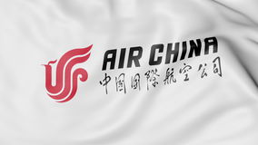 Развевая флаг перевода 3D Air China редакционного Стоковое Изображение RF