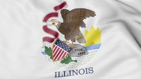 Развевая флаг положения Иллинойса перевод 3d Стоковое Фото