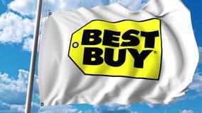 Развевая флаг с логотипом Best Buy Перевод Editoial 3D иллюстрация штока