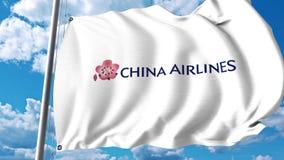 Развевая флаг с логотипом China Airlines перевод 3d Стоковое Изображение