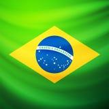 Развевая флаг ткани Бразилии Стоковое Изображение RF