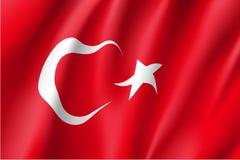 Развевая флаг Турции Стоковое Изображение RF