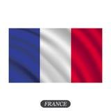 Развевая флаг Франции на белой предпосылке также вектор иллюстрации притяжки corel Стоковое Изображение