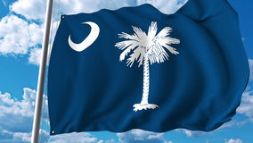 Развевая флаг Южной Каролины перевод 3d Стоковое Изображение