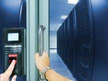 Развертка отпечатка пальцев для вписывает систему безопасности Стоковое фото RF