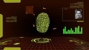 Развертка цифров отпечатка пальцев футуристическая сток-видео