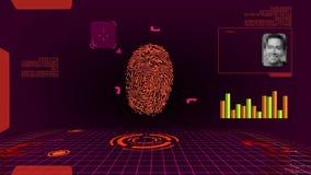 Развертка цифров отпечатка пальцев футуристическая видеоматериал