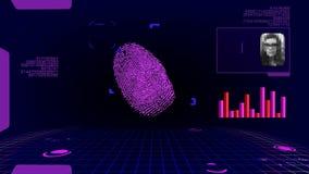 Развертка цифров отпечатка пальцев футуристическая акции видеоматериалы