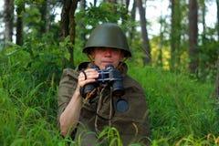 Разведчик в лесе Стоковое Изображение RF