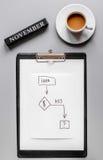 Развитие бизнес-плана в ноябре с взгляд сверху предпосылки стола графика и кофе Стоковое Изображение RF