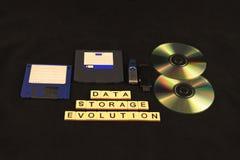 Развитие хранения данных сказало по буквам вне в плитках на черной предпосылке под ассортиментом запоминающих устройств Стоковые Фотографии RF