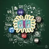 Развлечения и коллаж музыки с значками дальше иллюстрация штока