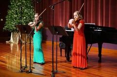 Развлечения музыки скрипки рождества Стоковое Фото