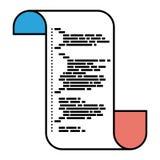 Разделы цвета силуэта непрерывно листа с напечатанным исходным кодом в крупном плане бесплатная иллюстрация