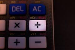 Разделять ключ на клавиатуре научного калькулятора стоковое фото