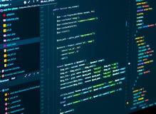 Разделять кода css и php Код сценария компьютера Код программирования превращаясь в редакторе кода стоковая фотография rf