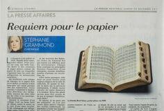 Раздел дела газеты Presse Ла Стоковые Изображения